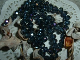 25 Stuks mooie Top Facet kralen in Montana Bleu van 6 x 4 mm.