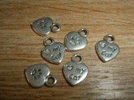 Leuke zilverkleurige mini hangertjes van love mij cat