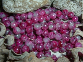 30 Stuks mooie gemêleerde fuchsia/paarse glaskralen 8 mm.