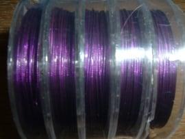 Gecoat staaldraad 0,45 mm.  in de kleur paars
