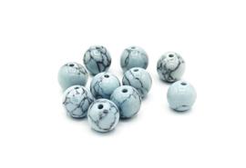 10 Stuks turquoise natuursteen kralen licht aqua blauw 8mm.