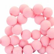 60 stuks Acryl kralen Roze mat 6mm