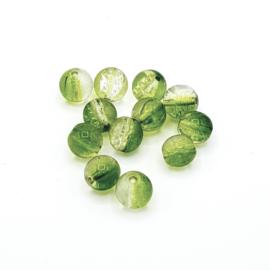 12 stuks transparant/groene crackle kralen 8 mm.