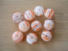 10 Stuks mooie ronde platte millefifiori kralen in transparant met oranje