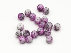 50 Stuks mooie gemêleerde roze/grijze  glaskralen 6 mm.