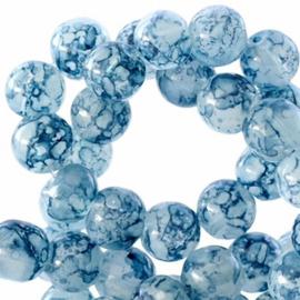 50 stuks Transparant Gemêleerde glaskralen Montana blue 6mm.