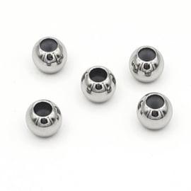 Schuif kraal/slot 8x6.5mm (Ø1.5mm) Zilver (RVS) Stainless steel