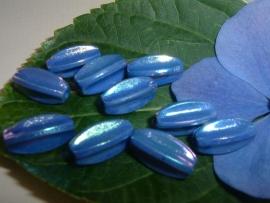 7 Stuks mooie blauwe oliegekleurde kralen