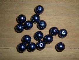 10 Stuks paarse glasparels 12 mm.