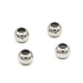 Schuif kraal/slot 6x4.7mm (Ø1.2mm) Zilver (RVS) Stainless steel