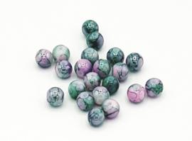 50 Stuks mooie gemêleerde groen/roze glaskralen 6 mm.