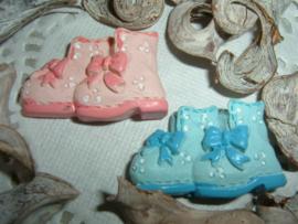 Roze en blauwe baby schoentjes/laarsjes