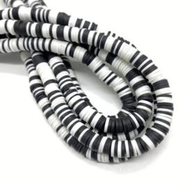 Katsuki kralen 6 mm mix wit-zwart per streng
