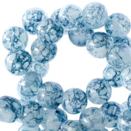 30 stuks Transparant Gemêleerde glaskralen Montana blue 8 mm.