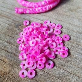 Katsuki kralen 6mm Azalea neon pink per 100 stuks