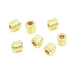 10 stuks DQ metalen kraal  Goud (nikkelvrij) 3x3 mm.