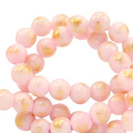 6 mm natuursteen kralen Licht roze-goud