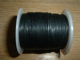 Waxkoord zwart  1 mm.