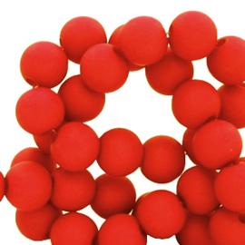 50 stuks Acryl kralen mat candy rood 8mm.