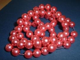 10 stuks roze glasparels 10 mm.