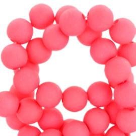 60 stuks Acryl kralen Hot Coral pink mat 6mm
