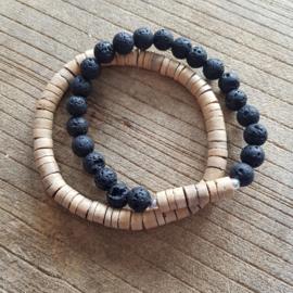 Kralen armband natuursteen/kokos