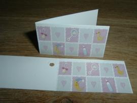 Mini kaartjes baby roze
