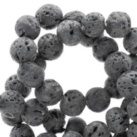 10 stuks Natuursteen kralen mat Lava anthracite grey 6mm
