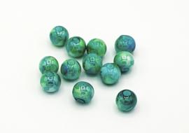 30 Stuks mooie helder gemêleerde groen/blauwe  glaskralen 8 mm.
