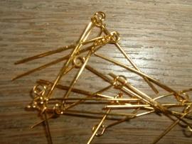 50 Stuks goudkleurige kettelstiften 28 mm.