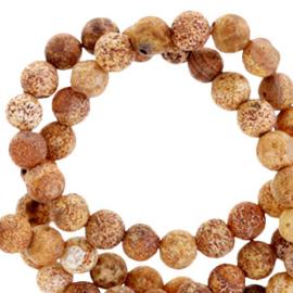 10 stuks Natuursteen kralen rond mat bruin stone 4 mm.