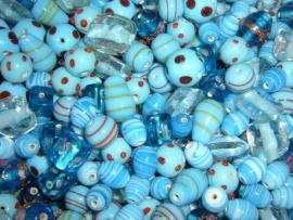 100 gram aquablauwe semi fancy glasmix