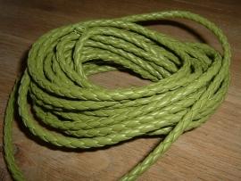 Mooi rond gevlochten imitatie leer in de kleur groen