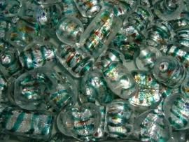 100 gram grote zilverfolie glasmix met zeegroen