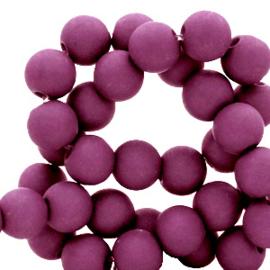 50 stuks Acryl kralen mat mulberry paars 8mm.
