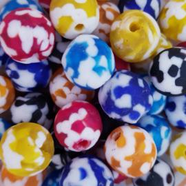 Mooie vrolijk gekleurde glaskralen 12 mm.