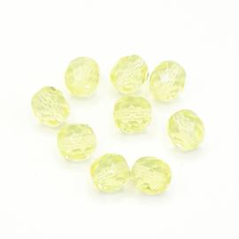 20 stuks transparant gele facet kralen van 8 mm.