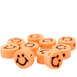 40 stuks Polymeer kralen smiley Oranje