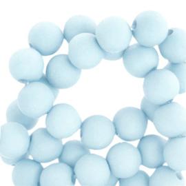 60 stuks Acryl kralen Light blue mat 6mm