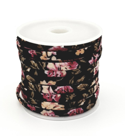 Mooi gestikt zwart-roze bloemetjes koord