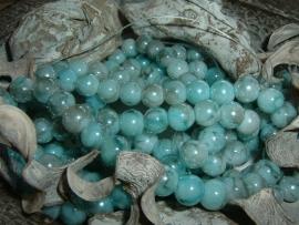 30 Stuks mooie gemêleerde turquoise/grijze glaskralen 8 mm.