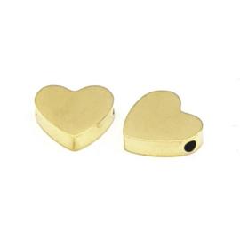 Roestvrij stalen (RVS) Stainless steel kralen hart Goud