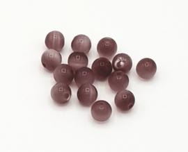 15 stuks cateye kralen in licht paars/licht amethyst 6 mm.