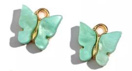Bedel vlinder goud Aqua blauw