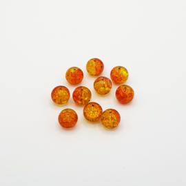 10 stuks geel/oranje crackle kralen 10 mm.