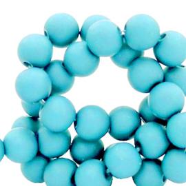 50 stuks Acryl kralen mat aquamarine blauw 8mm.