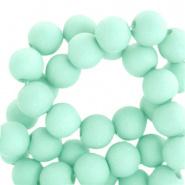 60 stuks Acryl kralen Bleached aqua green mat 6mm