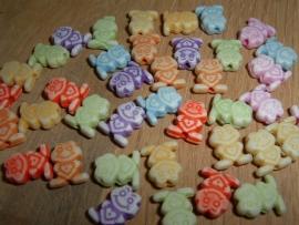 Leuke pastelkleurige mix van kleine kikkertjes