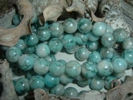 25 Stuks mooie gemêleerde turquoise/grijze glaskralen 10 mm.