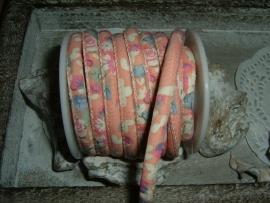 Mooi gestikt antiek roze bloemetjes koord